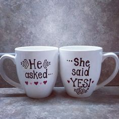 Cute way to announce engagement! Couple's mug on etsy!
