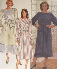 Misses Loose Fitting Pullover Dress Sewing Pattern Butterick 6825 Sizes 8-10-12 Mid or Lower Calf Elastic Waist Uncut Factory Folded #82X by AdriennesAtticStore on Etsy