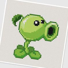 PDF Cross Stitch pattern // 0297.Peashooter (Plants vs Zombies) by PDFcrossstitch