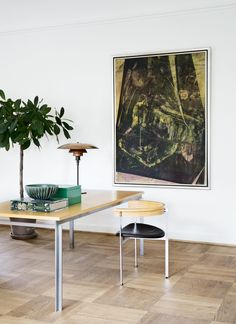 Home Office ǁ Fritz Hansen products: PK55™ table and PK11™ chair by Poul Kjærholm