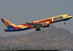 """America West """"Arizona"""" Boeing 757 . 17 years in Arizona thanks to this wonderful company, and I look forward to many more years in my beloved desert (given that I can leave and go somewhere cold and/or rainy at the drop of a hat). -Gen"""