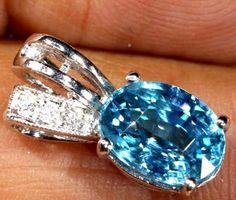 9.25 CTS 18K WHITE GOLD BLUE ZIRCON PENDAT SG-2386 GEMSTONE JEWELLERY Blue Zircon, Rock, Gemstone Jewelry, Silver Rings, White Gold, Jewellery, Gemstones, Jewels, Gems