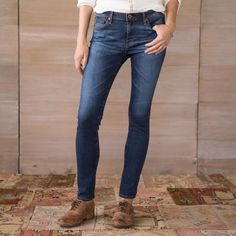 """AG PRIMA JEANS--A wonderfully stretchy denim, in a dark wash with subtle whiskering and contrast stitching. By AG Jeans. Cotton/polyurethane. Machine wash. Imported. Sizes 26 to 32. 30"""" inseam."""