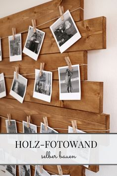 Fotowand Ideen: Polaroids in Szene setzen Photo Wall Ideas – setting up Polaroids: Making a wood photo wall yourself is easy with this photo wall guide. The upcycling idea can be implemented well in the kitchen or in the hallway. Diy Wanddekorationen, Diy Crafts, Photo On Wood, Photo Wall, Polaroid Foto, Diy Polaroid, Upcycled Home Decor, Deco Originale, My New Room