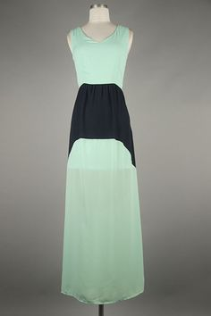 *** New Style *** Sheer Sleeveless Maxi Dress with Cinched Waist and Cutout Accent Back Featuring Color Block Trim Center.
