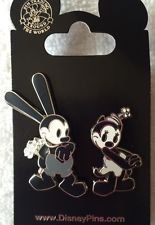 Disney Oswald The Lucky Rabbit And Ortensia Black And White 2 pin Set
