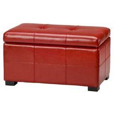 Safavieh Maiden Leather Ottoman Upholstery: Red