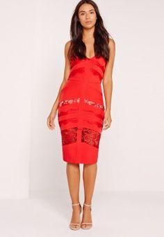 Strappy Lace Insert Midi Dress Red