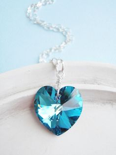 Swarovski Crystal Heart Necklace  Teal and Blue by linkeldesigns, $38.00