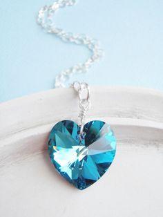 Swarovski Crystal Heart Necklace  Teal and Blue by linkeldesigns, $38.00