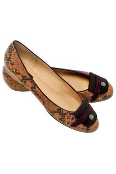 Longchamp aubergine and brown snakeskin flats. these also come in heels