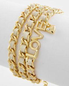 Gold Tone / Ivory Leatherette Cord / Lead Compliant / Wrap Style / Heart Charm / Love Bracelet