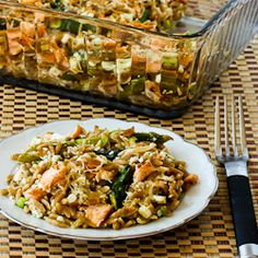 Whole Wheat Orzo Casserole Recipe with Salmon, Asparagus, and Feta [from Kalyn's Kitchen]