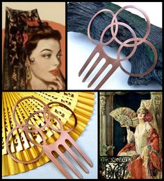 Vintage Spanish mantilla Art Deco style hair comb copper metal