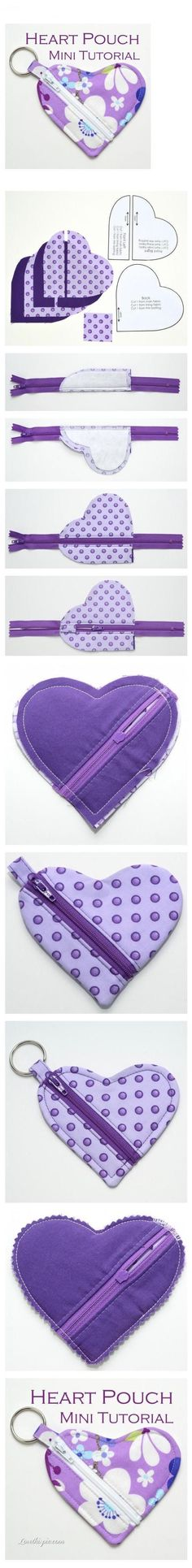 DIY Heart Pouch Mini Tutorial diy crafts home made easy crafts craft idea crafts ideas diy ideas diy crafts diy idea do it yourself diy projects diy craft handmade diy handbag craft handbag