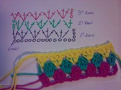 Granny Stripes Pattern How to do striped crochet. supposed to be easy.perhaps I could make that rainbow blanket I've always wanted to do but can't fig out properly and pulled apart Crochet Diagram, Crochet Chart, Crochet Motif, Diy Crochet, Crochet Squares, Crochet Granny, Granny Squares, Crochet Stitches Patterns, Knitting Patterns
