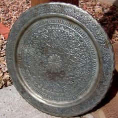 Middle Eastern Hammered Tray Plaque Persian Islamic Engraved Silver Metal Art Qajar Rustic Primitive Decor Wall Hanging