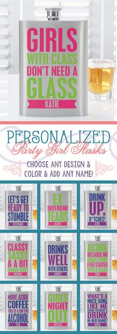 """OMG These flasks are cracking me up! These are so cute!! You can pick any saying in any color and personalize it with any name ... this would be a great bridesmaid gift idea or for the girls at the bachelorette party! I think """"ex-boyfriend tears"""" may be my favorite! #flasks #bridesmaidgift #girlyflask #bacheloretteparty #wedding"""