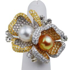 Butani 18kt Two Tone Gold White and Yellow Diamonds with Two South Sea Pearls Ring (9.17 c.t.w.)
