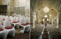 Czech designer Maxim Velcovsky has redesigned the interior of a church in Eastern Bohemia, using customised design classics, rugs and chandeliers.