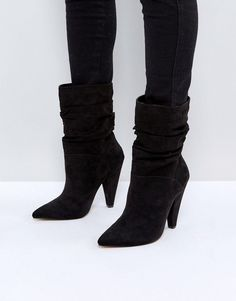 d40e26957bb Boots by ASOS Collection Textile upper Slip-on slouchy style Pointed toe  Tapered high heel Wipe with a damp cloth Textile Upper Heel height
