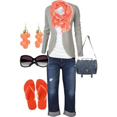 Cruise outfit grey stripe cardigan