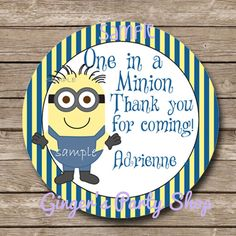 Minion Party Favor Tag  Sticker  Printable by GingersnapsParty, $6.00