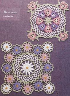 Салфетки с цветами крючком