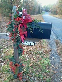 2013 Christmas mailbox cover decor, bow &pine cone&branch mail box decor, Christmas holiday outdoor decor