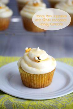 Honey Bee Cupcakes with White Chocolate Honey Ganache | We are not Martha