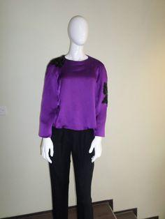 Dawn FitzGerald Atelier Bespoke Purple Silk Shirt Size Small UK 10