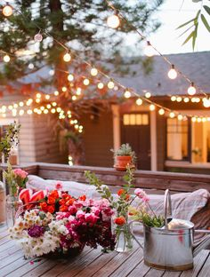 Living Area on the Deck / Patio / Porch - House Exterior - Lighting - Twinkle / String Lights Backyard Lighting, Outdoor Lighting, Outdoor Decor, Lighting Ideas, Outdoor Dining, Indoor Outdoor, Backyard String Lights, Indoor Herbs, Wedding Lighting