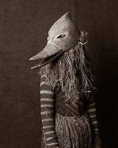 Chokwe Bird Mask and ritual costume from Zambia - Francois d'Elbee African Homage ( Arte Tribal, Tribal Art, Folk Costume, Costumes, Duck Mask, Afrique Art, Bird Masks, Art Premier, Animal Masks