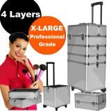 Luxo 4 in 1 Portable Silver Travel Beauty Cosmetic Professional Aluminium Frame Velvet Lining Makeup Case