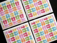 Flip Flop Coasters Summer Coasters Tile Coaster Tile by KimLKrafts
