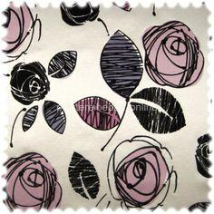 AKTION Microfibres® Flachgewebe Möbelstoff TORY mit Flockvelour Blüten silbergrau / lila