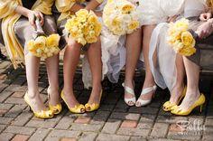 Bride and bridesmaids yellow bowtie heels. Wedding Pics, Wedding Events, Wedding Stuff, Our Wedding, Dream Wedding, Wedding Ideas, Yellow Wedding Shoes, Yellow Weddings, Yellow Shoes