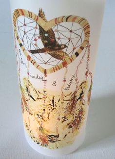 """**transparente Lichthülle für Teelicht oder LED - Traumfänger, Wolf  & Falke mit Spruch**  """"Sei frei - mutig - & - träume"""" Teelicht ins Glas!! oder LED wer gerne auch unbeaufsichtigt ein Licht..."""