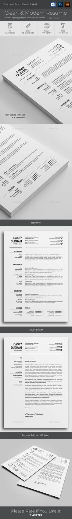 Resume Templates Clean & Modern Resume Template PSD, AI, MS Word