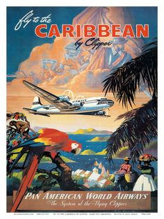 Pan American: Fly to the Caribbean by Clipper, c.1940s Art Print-solution for st thomas and st kitts?