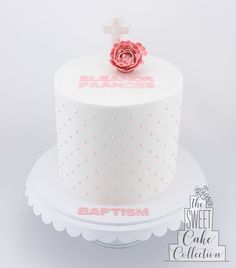 Baptism Cake with Cross and Flower