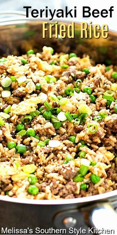 Tasty Fried Rice Recipe, Beef Fried Rice, Beef And Rice, Teriyaki Fried Rice Recipe, Healthy Fried Rice, Ground Beef Rice, Beef Dishes, Rice Dishes, Veggie Dishes