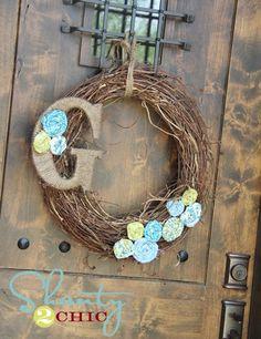 monogram wreath with fabric flowers