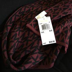 MK scarf Burgundy and black signature MICHAEL Michael Kors Accessories Scarves & Wraps