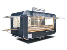 Verkaufswagen mit Kühltheke Mobile Food Cart, Mobile Food Trucks, Food Cart Design, Food Truck Design, Catering Trailer, Food Trailer, Coffee Carts, Coffee Shop, Foodtrucks Ideas