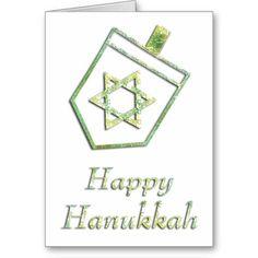 Blue Dreidel Happy Hanukkah Greeting Card 3