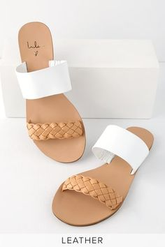 Show off your fresh pedicure as you strut your stuff in the Lulus Caylee Tan and White Nappa Leather Slide Sandals! Leather slides with a braided toe strap. Shoes Flats Sandals, Sandals Outfit, Girls Sandals, Cute Sandals, Cute Shoes, Slide Sandals, Leather Sandals, Me Too Shoes, New Fashion