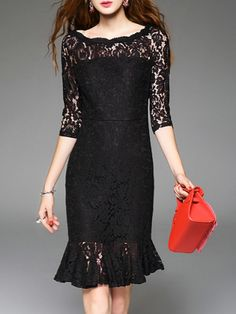 Black Crew Neck Lace Frill Dress