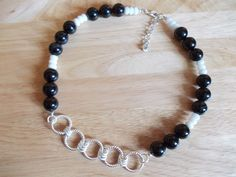 Black agate and white quartzite necklace with chain detailing £14.00