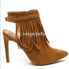 Fringe faux suede heel Fringe faux sued heel. Adjustable buckle strap with open ankle. Heel height is 4.5 in. Available in size 5.5 to 10. Please specify which size you need prior to offers or buying. New in box. Boutique Shoes Ankle Boots & Booties